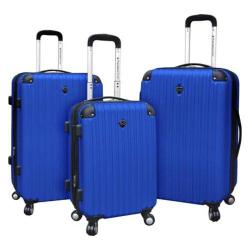 Travelers Club Chicago 3 Piece Expandable 4-Wheel Luggage Set Cobalt Blue