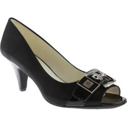 Women's Anne Klein Dane Open Toe Pump Black/Black Fabric