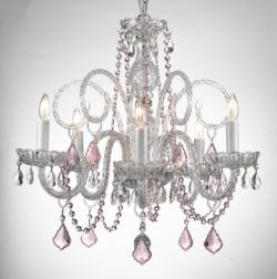 CRYSTAL CHANDELIER CHANDELIERS LIGHTING WITH PINK COLOR CRYSTAL!