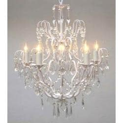 """Wrought Iron Crystal Chandelier Chandeliers Lighting H27"""" x W21"""" SWAG PLUG IN"""