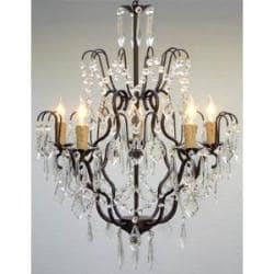 "Wrought Iron Crystal Chandelier Chandeliers Lighting H27"" x W21"" SWAG PLUG IN"