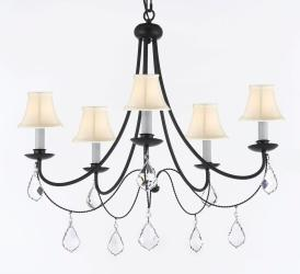 "Empress Crystal (Tm) Wrought Iron PLUG IN Chandelier Lighting H.22.5"" X W26 with White Shades"