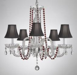 CRYSTAL CHANDELIER CHANDELIERS LIGHTING WITH RED COLOR CRYSTAL & SHADES!