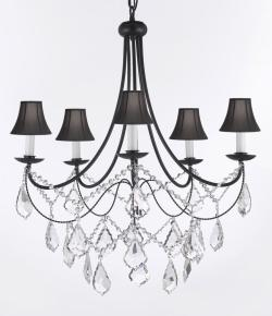 "Empress Crystal (tm) Wrought Iron PLUG IN Chandelier Lighting H.22.5"" x W26 with Black shades"