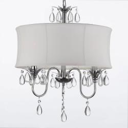 Modern Contemporary White Drum Shade & Crystal Ceiling Chandelier Pendant with SWAG PLUG IN KIT