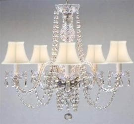 New! Authentic ALL Crystal Chandelier with White Shades!