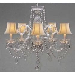 "CRYSTAL CHANDELIER CHANDELIERS LIGHTING WITH WHITE SHADES H 25"" X W 24"""