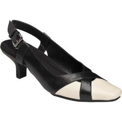Women's A2 by Aerosoles Dimprint Slingback Pump Black Combo Faux Leather