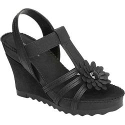 Women's Aerosoles Cottontail Wedge Sandal Black Faux Suede