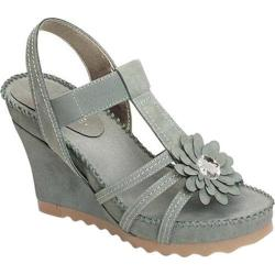Women's Aerosoles Cottontail Wedge Sandal Light Blue Faux Suede