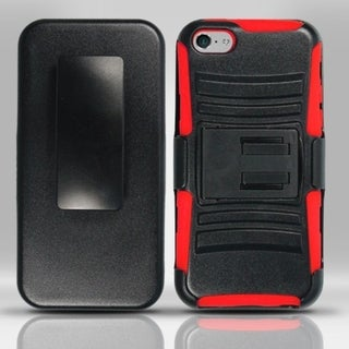 INSTEN Advanced Armor Dual Layer Hybrid PC/ Soft Silicone Holster Phone Case With Stand For Apple iPhone 5C