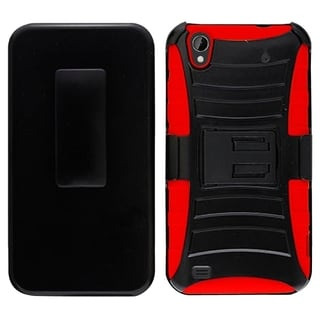 INSTEN Dual Layer Hybrid Rubberized Hard PC/ Soft Silicone Holster Phone Case Cover For ZTE Quartz Z797c
