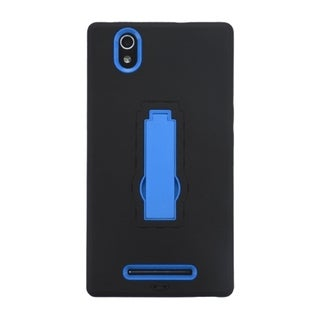 INSTEN Black/ Blue Symbiosis Dual Layer Hybrid Rubber Soft Silicone/ PC Phone Case With Stand For ZTE ZMax