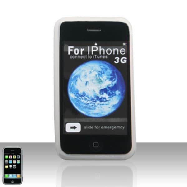 INSTEN White Rubber Soft Silicone Skin Gel Phone Case Cover For Apple iPhone 3G/ 3GS
