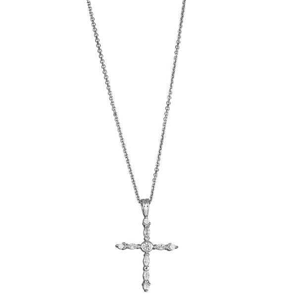 Sterling Silver Marquise/ Round Cubic Zirconia Fancy Cross Pendant
