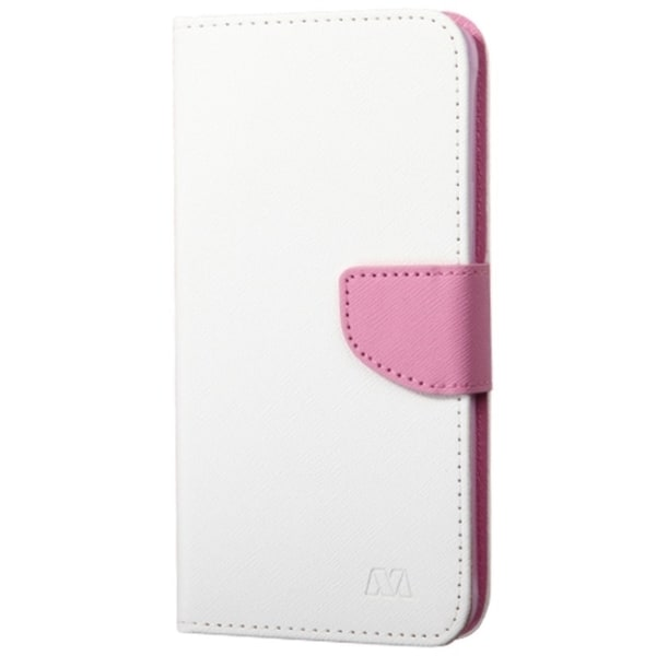 INSTEN White/ Pink Folio Flip Leather Wallet Flap Pouch Phone Case With Stand For Samsung Galaxy Note 4