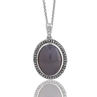 Sterling Silver Oval Moonstone 1/5ct TDW Diamond Necklace (H-I I1-I2)