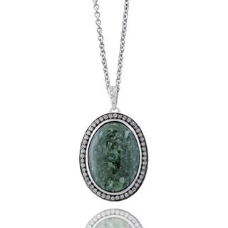 Sterling Silver Oval Seraphinite 3/8ct TDW Diamond Necklace (K-L, I1-I2)