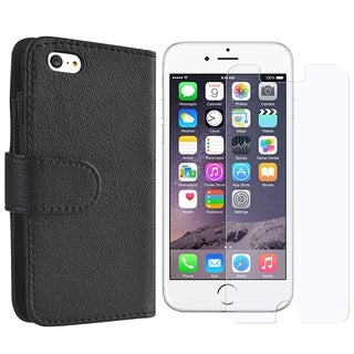 INSTEN Folio Flip Leather Wallet Flap Pouch Phone Case Cover Combo With Anti-Glare Screen Protector For Apple iPhone 6