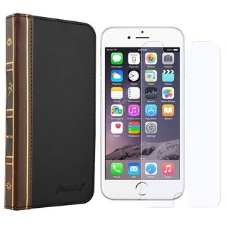 INSTEN Charcoal Stand Folio Leather Wallet Flap Pouch Phone Case Cover With Anti-Glare Screen Protector For Apple iPhone 6