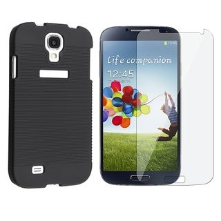 INSTEN Rubberized Hard Snap-on Holster Phone Case Cover Combo With Clear Screen Protector For Samsung Galaxy S4 GT-i9500