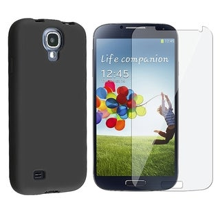 INSTEN Rubber Soft Silicone Skin Gel Phone Case Cover Combo With Clear Screen Protector For Samsung Galaxy S4 GT-i9500