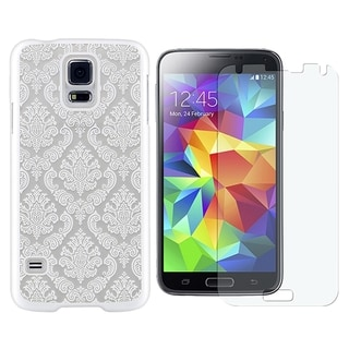 INSTEN Lace Rubberized Hard Snap-on Transparent Phone Case Cover Combo With Clear Screen Protector For Samsung Galaxy S5 SM-G900