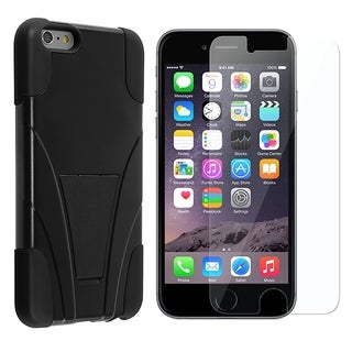 INSTEN Dual Layer Hybrid Stand PC/ Soft Silicone Phone Case Cover Combo With Clear Screen Protector For Apple iPhone 6 Plus/ 6+