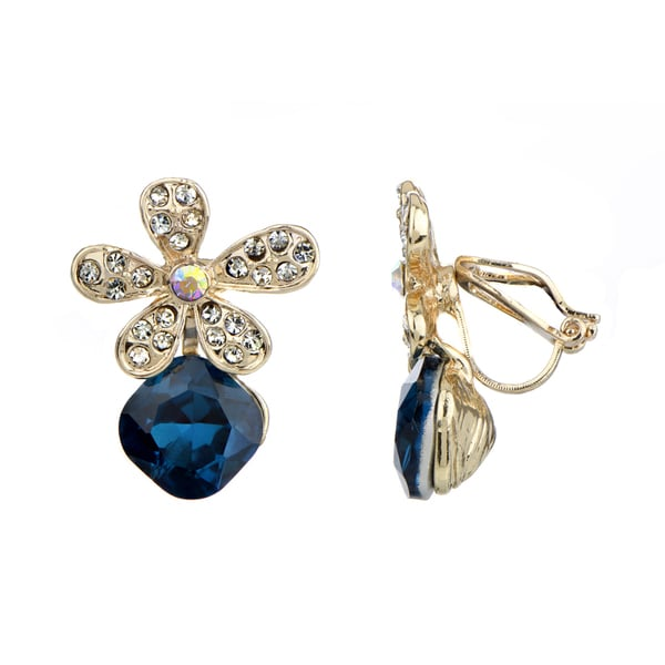 Goldtone Blue Rhinestone Flower Clip-on Earrings
