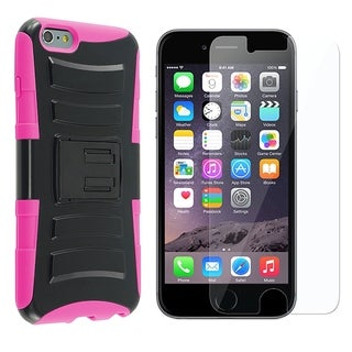 INSTEN Advanced Armor Hybrid PC/ Silicone Holster Phone Case Cover Combo With Clear Screen Protector For Apple iPhone 6 Plus/ 6+