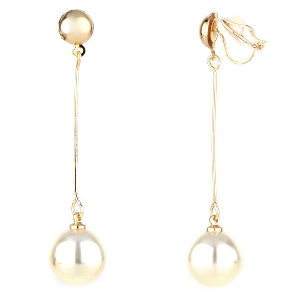 Goldtone Faux White Pearl Drop Clip-on Earrings