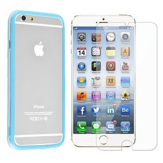 INSTEN Light Blue/ Clear Aluminum Button TPU Rubber Bumper Phone Case Cover Combo With Clear Screen Protector For Apple iPhone 6