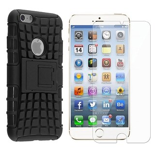 INSTEN Black Advanced Armor Hybrid Stand PC/ Soft Silicone Phone Case Cover Combo With Clear Screen Protector For Apple iPhone 6