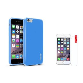 Insten TPU Rubber Candy Skin Phone Case Combo with Clear Screen Protector for Apple iPhone 6/ 6s