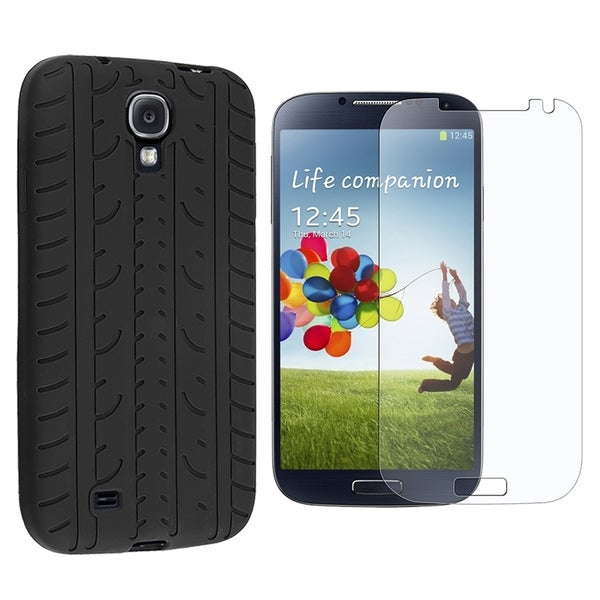 INSTEN Black 3D Tyre Rubber Silicone Skin Gel Phone Case Cover With Anti-Glare Screen Protector For Samsung Galaxy S4 GT-i9500