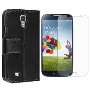 INSTEN Stand Folio Leather Wallet Flap Pouch Phone Case Cover With Anti-Glare Screen Protector For Samsung Galaxy S4 GT-i9500