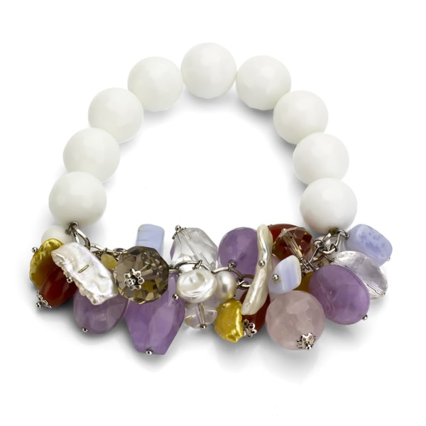 DaVonna White Agate Multi-colored Gemstone Stretch Bracelet