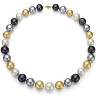DaVonna 14k Yellow Gold Multi-colored Cultured Pearl Necklace (13-15 mm)