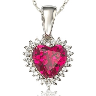 Suzy Levian 18k White Gold over Silver Heart-cut Gemstone and Cubic Zirconia Necklace