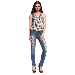 Anladia Sexy Women's Blue Low-cut Destroyed Skinny Jeans