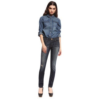 Anladia Women's Dark Blue High Rise Denim Jeans