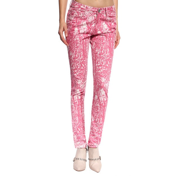 Anladia Women's Pink European Print Skinny Jeans 14758044