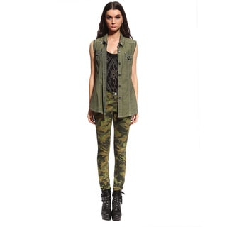 Anladia Women's Camo Military Skinny Jeans