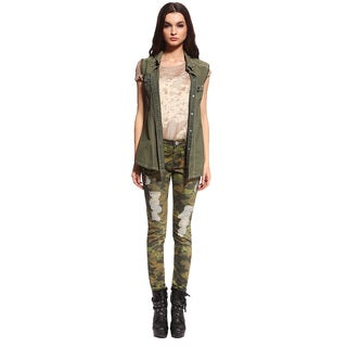 Anladia Women's Stretch Camouflage Skinny Jeans