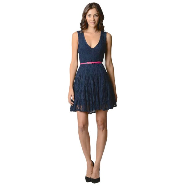Sara Boo Romantic Navy Lace Dress