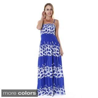 Hadari Women's Tropical Floral Sleeveless Maxi Dress