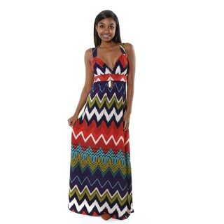 Hadari Women's Multi-colored Tribal V-Neck Maxi Dress