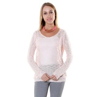 Hadari Women's Pink Lace Sweater