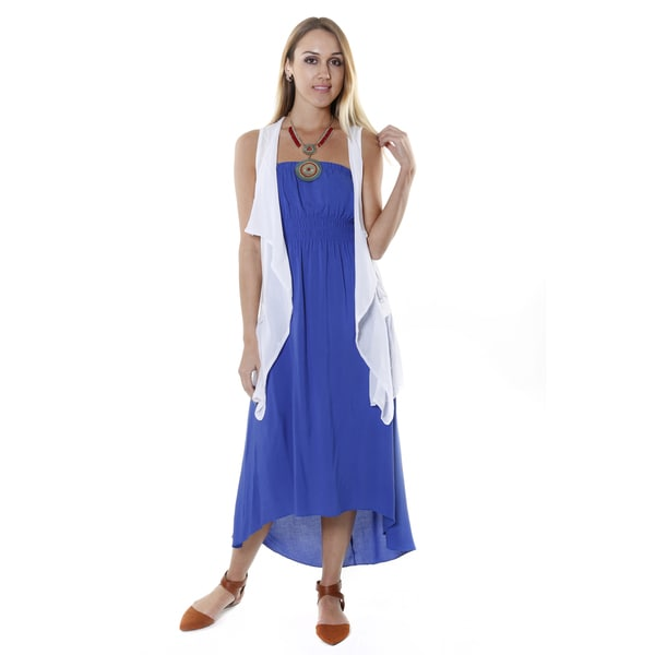 Hadari Women's White Draped Sleeveless Cardigan