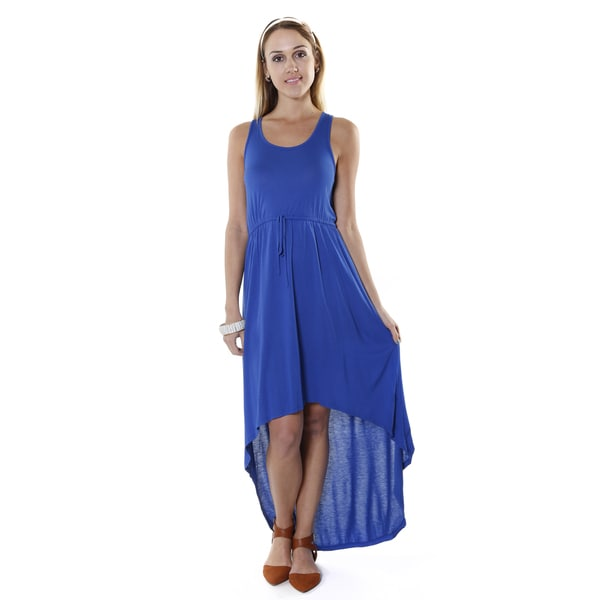 Hadari Women's Blue High Low Sleeveless Maxi Dress